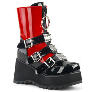 Shoes - Punk Buckle Platform Mid-Calf Spike Boots Gothic